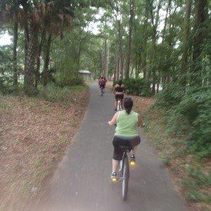 Guests ride bikes around the Island