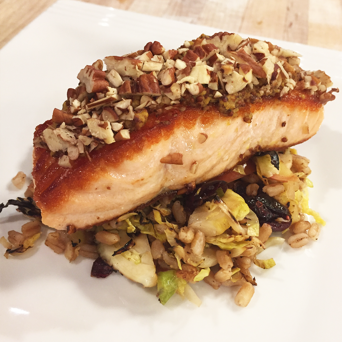 Mustard and Pecan Encrusted Salmon with Warm Slaw