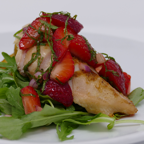 Strawberry Mint Salsa with Grilled Chicken