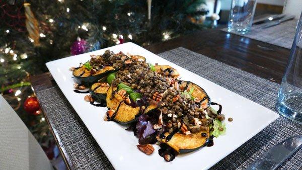 Acorn Squash and Warm Curry Lentil Salad